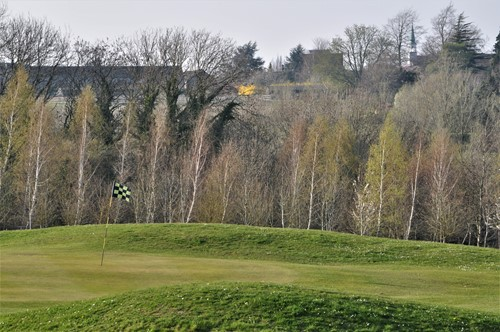 Looking across the 4th green to Westminster College on Harcourt Hill